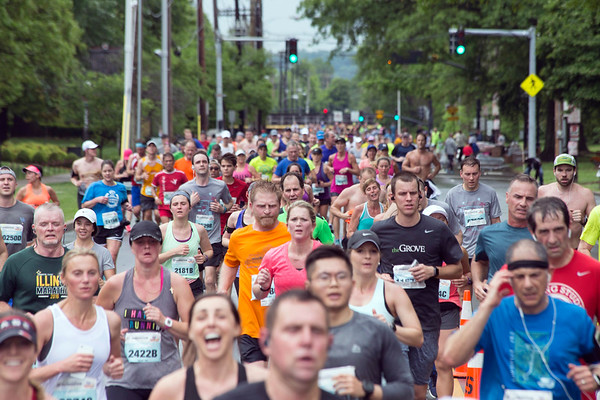 Racers made their way along 3rd Street heading to  the downtown finish line during the KDF marathons on Saturday morning. 4/29/17