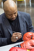 1988 Olympic gold medalist boxer Ray Mercer signed a pair of gloves during a visit to Central High School. 5/3/17