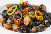 The Orecchiette at Mercato Italiano is a colorful mix of shrimp, nduja (spicy) sausage, pickled Italian peppers with squid ink in a shellfish broth. 5/23/17