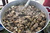 A popular item called curry goats was prepared as fast as it was served by the Piece of Jamaica booth at the Kentucky Reggae Festival. 5/28/17