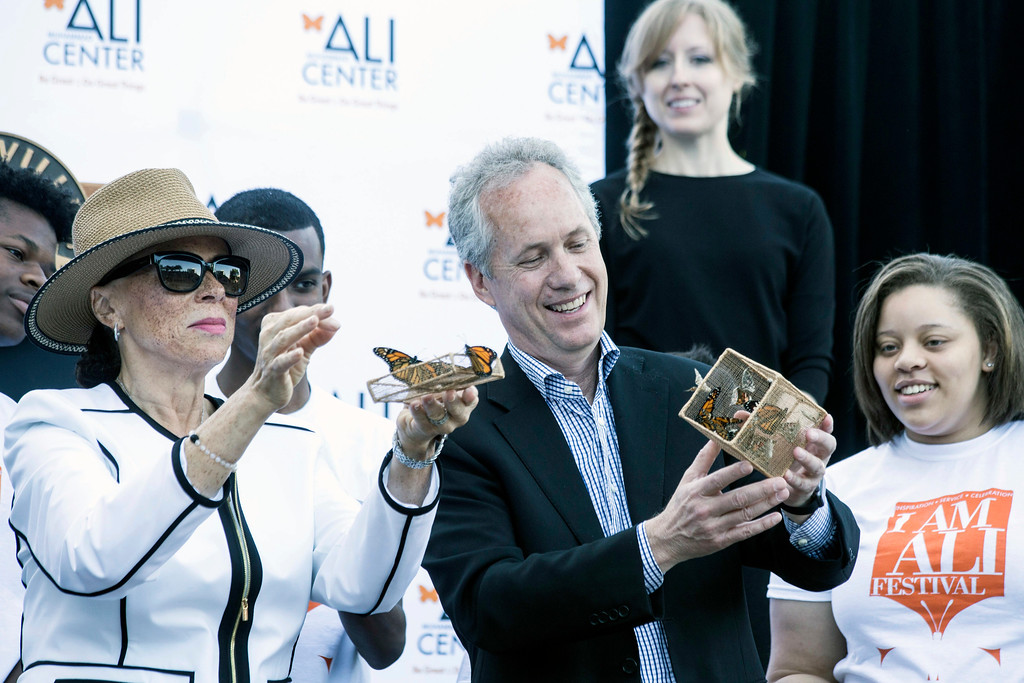 Louisville Mayor Greg Fischer is joined by Lonnie Ali for the release of butterflies to mark the one-year anniversary of the death of Muhammad Ali. 6/3/17