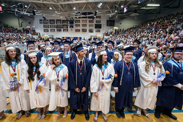 The graduating class at Silver Creek High School feels love from the audience as it enters the gym. 6/4/17