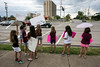 Students hoisted protest signs along Newburg Road on Tuesday in response to the firing of Norton Elementary principal Ken Stites. 6/13/17