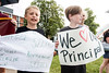 Norton Elementary students Johnny Burrice and Sidney Crowe joined the protest line at the Van Hoose Education Center to show support for their recently fired Norton Elementary principal Ken Stites. 6/13/17