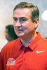 WKU basketball head coach Rick Stansbury chats with fans and alumni during a stop at the Hunting Creek Country Club on Monday. 6/19/17