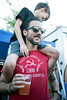 Alec Betz gives his son Aedan a better view from the crowd during day two of the Poorcastle Festival. 7/8/17