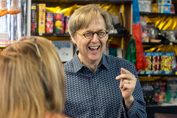 Magician Mac King entertained the staff at Caufield's Novelty on Wednesday with tales from his time employed behind the iconic shop's magic counter. 7/12/17