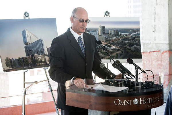 """Omni Hotel area managing director Dan Piotrowski leads a Friday morning press conference to celebrate the """"topping out"""" of the Louisville Omni as construction nears completion of the 30-story project. 7/14/17"""