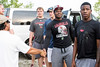 UofL football players Robbie Bell, Mason King, Isaac Stewart and AJ Johnson arrive at Mystery Lake in Fern Creek to fish with several US military veterans on Saturday morning. 7/22/17