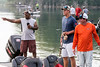UofL punter Mason King (center) prepares to fish with several US Military veterans on Mystery Lake Saturday morning. 7/22/17