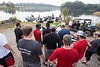 Members of the UofL football team prepare to pair up with US military veterans at a fishing outting arranged by the Kentucky Pro Bass Warriors on Mystery Lake. 7/22/17