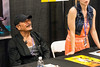Martial arts legend Sonny Chiba smiles as he is greeted by one of his fans on Saturday at FandomFest. 7/29/17