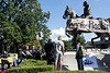 LMPD officers arrive at a Louisville Showing Up for Racial Justice rally at the Castleman statue to clear the area as protesters continued to scale and deface the landmark on Saturday. 8/19/17