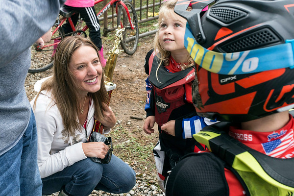 Julie Urbach congratulates her niece and nephew on their performances during the Derby City BMX Nationals. 9/2/17