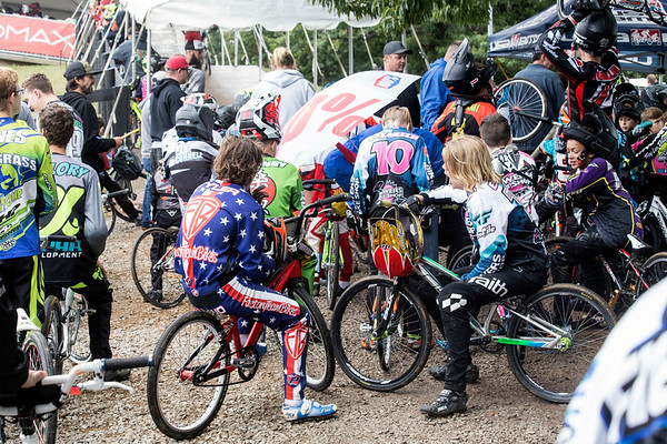 Riders await to ascend the ramp leading to the starting gate during the Derby City BMX Nationals in Tom Sawyer Park on Saturday. 9/2/17