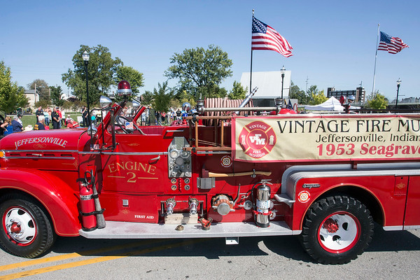 A vintage fire engine was part of a tribute to the fallen heroes of 9-11 during a memorial in Jeffersonville on Sunday. 9/10/17