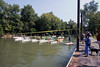 Police tape marks the starting line as participants in the 7-mile course of the Great Ohio River Odyssey idle before their journey toward Downtown Louisville. 9/16/17