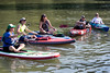 A small group of paddlers await the start of a 2.5 mile run up Harrods Creek and back during the Great Ohio River Odyssey on Saturday morning. 9/16/17