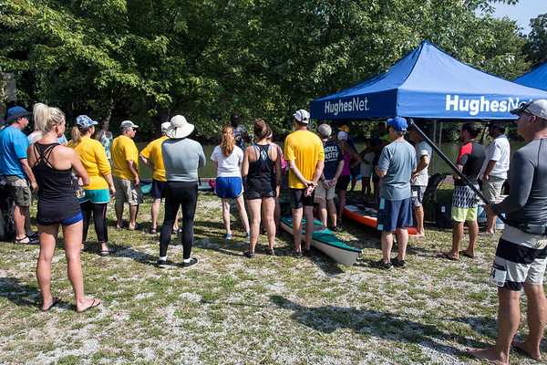 Participating paddlers in the Great Ohio River Odyssey line up to be briefed about the 7-mile course from Captain's Quarters to Downtown Louisville on Saturday. 9/16/17