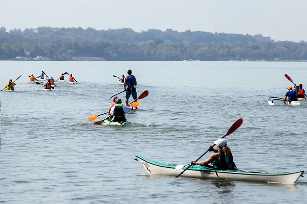 Participants in the 7-mile course of the Great Ohio River Odyssey head toward Downtown Louisville from Captain's Quarters on Saturday morning. 9/16/17