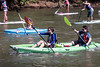 Paddlers, both seated and standing, begin the 7-mile journey toward Louisville during the Great Ohio River Odyssey. 9/16/17