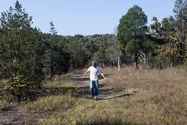 Director of Land Management Chris Minor explains how the Pine Creek Barrens Preserve in Bullitt County was created during a Thursday morning tour. 9/21/17