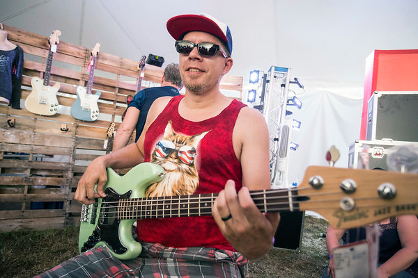 Joe Hilgendant joins in with a bass during a jam session in the Music Experience tent at Bourbon & Beyond. 9/23/17