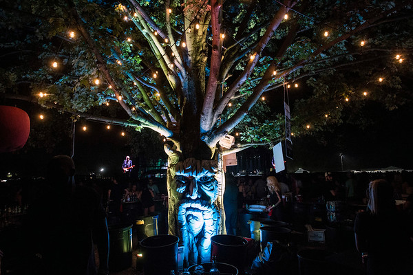 An illuminated tree with a face guided thirsty fans in the dark to more beverages. 9/23/17