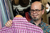 Food Network Star Jason Smith checks out a shirt at Encore Resale. 9/27/17