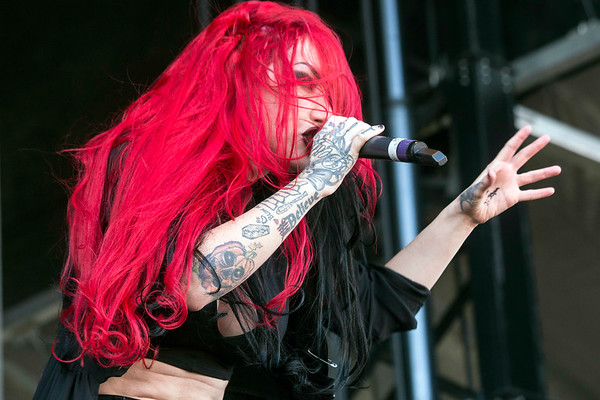 The female-fronted metal band New Years Day rocked the crowd on day one at Louder Than Life. 9/30/17