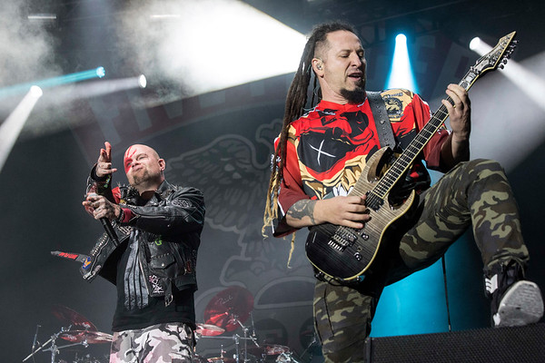 The band Five Finger Death Punch served up the crowd as a headliner on day one of Louder Than Life on Saturday. 9/30/17