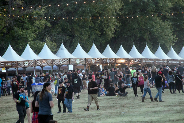 The early evening diners ascend on the food tent city at Louder Than Life before headliners take the stage. 10/1/17
