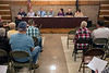 The Utica Town Council answered questions about proposed billboards along I-265 on Tuesday night as around two dozen people showed up to voice opposition to the plan. 10/10/17
