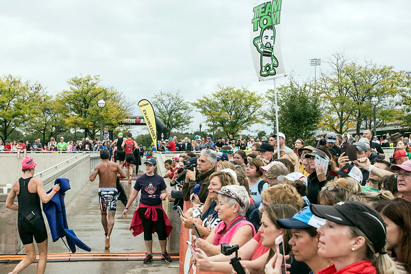 Fans lined the path cheering on Ironman athletes--from the water to the bike area--during the annual endurance challenge in Louisville on Sunday. 10/15/17