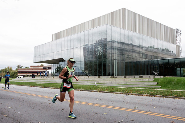 Kim Sanner heads south along 3rd Street as she runs the 26.2 mile course during the Ironman on Sunday. 10/15/17