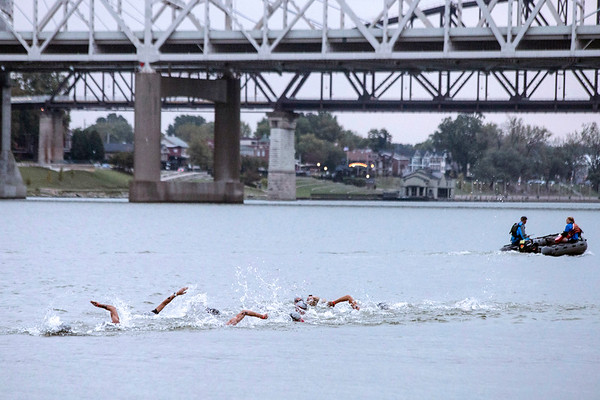 A dense pack of swimmers near the end of their 2.4 mile journey during the Louisville Ironman on Sunday. 10/15/17