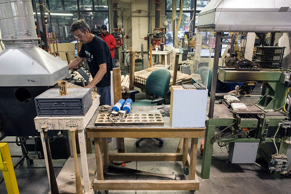 Craftsmen at the Louisville Slugger Factory prepare bats bound for the 2017 World Series on Monday morning. 10/23/17