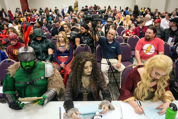 An exhibit hall in the East Wing of the Kentucky Expo Center was packed for the adult costume contest during the Derby City Comic Con on Saturday. 10/28/17