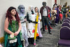 A line of costumed hopefuls wait to take the stage and be judged during the Derby City Comic Con. 10/28/17