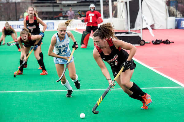 UofL's Alli Bitting clears the ball away from her goalkeeper during the final game of the ACC Field Hockey Championship against UNC on Sunday. 11/5/17