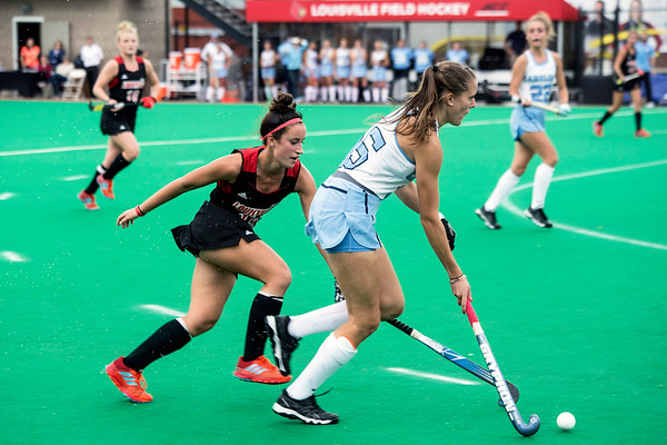 UofL's Katie Walsh pursues the ball during the ACC Field Hockey Championship game against UNC on Sunday. 11/5/17
