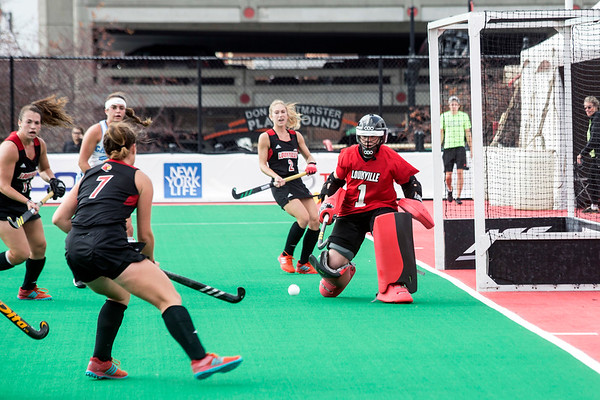 UofL goalkeeper Ayeisha McFerran stays alert against UNC in the final game of the ACC Field Hockey Championship on Sunday. 11/5/17