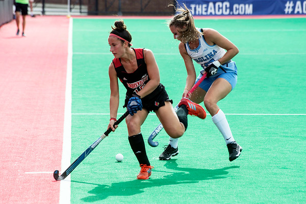 UofL's Katie Walsh fights along the sideline during the ACC Field Hockey Championship against UNC on Sunday at Trager Field. 11/5/17