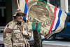 James McKee of the National Desert Storm War Memorial watched the Veterans Day Parade near the corner of Fourth & Main. 11/11/17