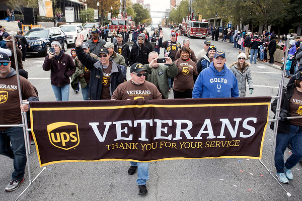 UPS employees that also served in the military were honored during the annual Veterans Day Parade in downtown Louisville on Saturday. 11/11/17