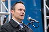 Kentucky Governor Matt Bevin spoke to the crowd at the Veterans Day Parade on Saturday. 11/11/17