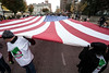 A gigantic American Flag traveled along Main Street on Saturday as part of the annual Veterans Day Parade. 11/11/17
