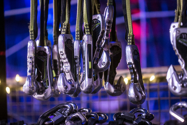 Grappling hooks sit ready for action at the Louisville Mega Cavern. 11/22/17