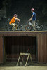 Cyclists Dalton McCauley and Evan McKune rest on an old shipping container as they plot their next move along the extreme bike course in the Louisville Mega Cavern. 11/22/17