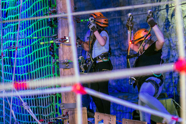 A large area of rope climbing mazes and zip line courses make up one of the most popular attractions at the Louisville Mega Cavern. 11/22/17
